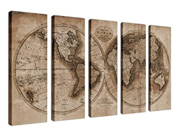 Amazon canvas wall art old world map painting printed on canvas wall art old world map painting printed on canvas sepia map of the world gumiabroncs Image collections