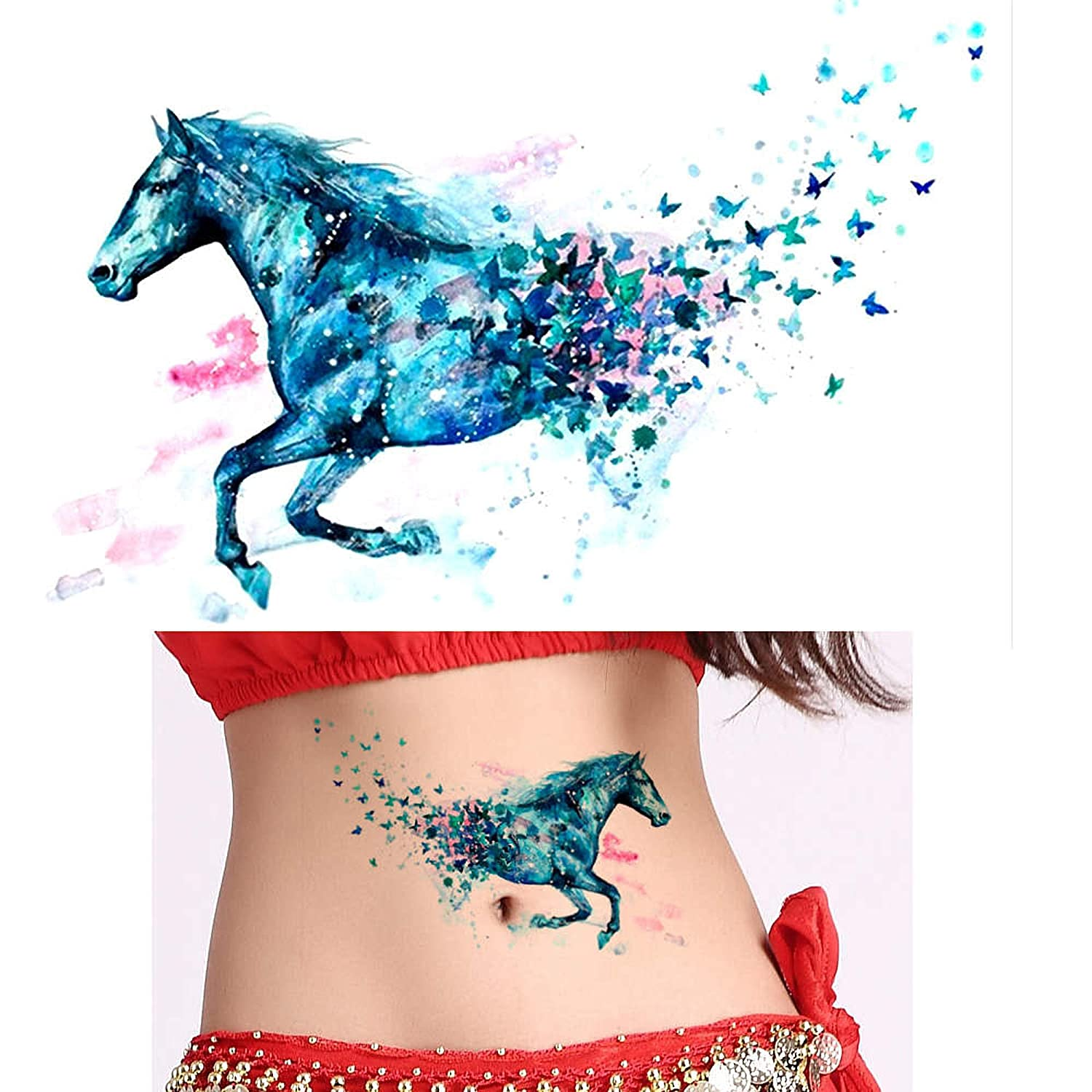 c98a1759f glaryyears 1x DIY Body Art Temporary Tattoo Colorful Animals Watercolor  Painting Drawing Horse Butterfly Decal Waterproof Tattoos Sticker:  Amazon.in: Beauty