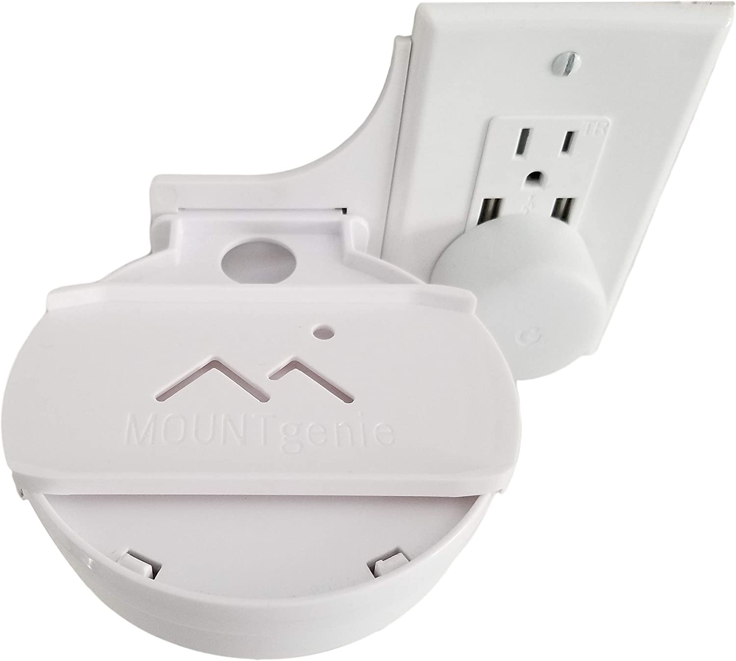Easy Outlet Shelf Swivel Adapter for Google Home Hub Nest Hub by Mount Genie Easy Outlet Shelf Sold Separately. The Best Mounting Solution for The Google Home Hub in Kitchen and Bathrooms