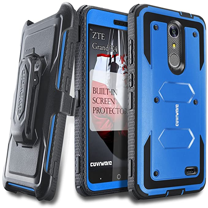Amazon.com: COVRWARE [Aegis Series] case Compatible with ZTE Grand X4 / Blade Spark, with Built-in [Screen Protector] Heavy Duty Full-Body Rugged Holster ...