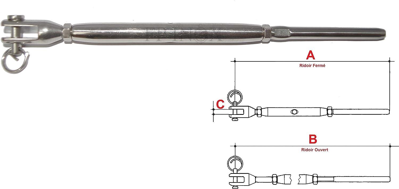 Ridoir 156mm Terminaison /à Sertir pour Cable de 3mm INOX 316
