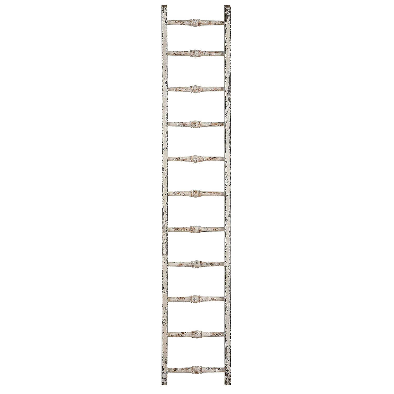 Distressed wood decorative ladder for French farmhouse decorated rooms.