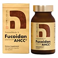 NatureMedic Fucoidan AHCC Brown Seaweed Immunity Supplement with Organic Mekabu Mozuku Agaricus 160 Vegetable Capsules Made in Japan
