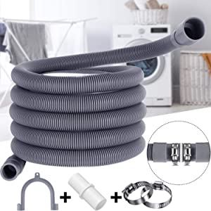 10 ft Universal Washing Machine Drain Hose Flexible Dishwasher Drain Hose Extension Kits Corrugated Washer Discharge Hose with 1 Extension Adapter and 2 Hose Clamps, U-Bend Hose Holder