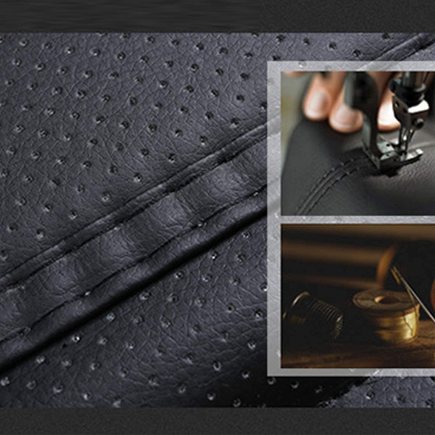Beige Sunny color 2pc Edge Wrapping Car Front Seat Cushion Cover Pad Mat for Auto Supplies Office Chair with PU Leather Bamboo Charcoal