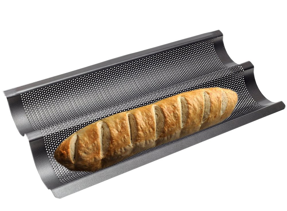Baguette Baking Tray (2 baguettes) Bake Baguette Tray,38x21cm,non- stick French bread pan Carbon Steel FOLAI