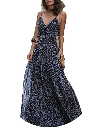 2c406b1f8a Sexy Dress Leopard V Neck Spaghetti Strap Maxi Dress Women Summer Chiffon  Beach Long Dress at Amazon Women s Clothing store