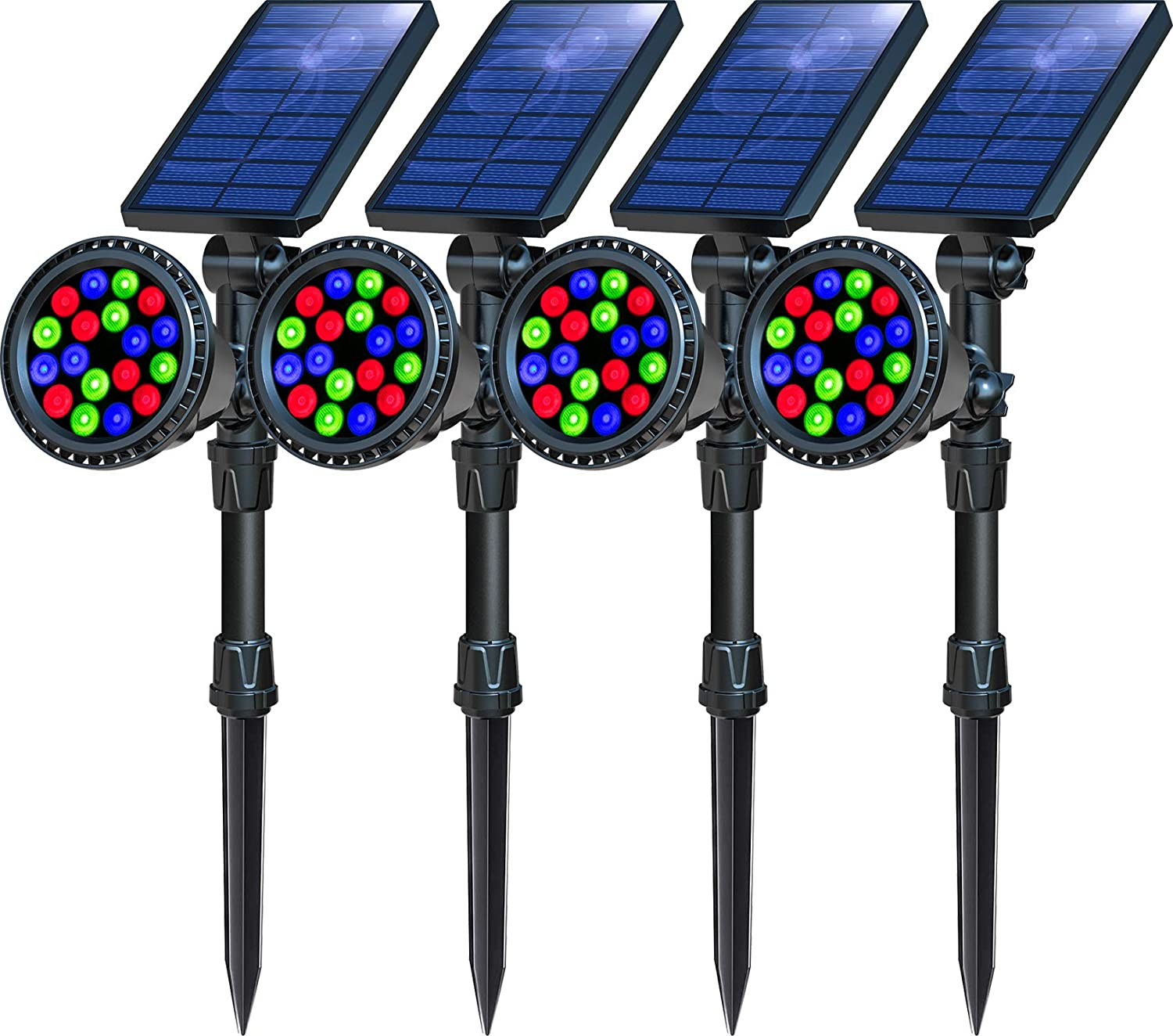 OSORD Solar Lights Outdoor, Upgraded 18 LED Waterproof Color Solar Landscape Spotlights 2-in-1 Adjustable Color Changing Solar Garden Lights for Pathway Yard Patio Lawn Decor, (4 Pack, Multicolor)