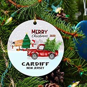 Cardiff Ornament New Jersey Ornaments Christmas City State Ornament Christmas Tree Ornament 2020 Gifts for Family Friends Long Distance Love Decoration for Xmas 3