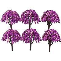 "Colorful Plastic Mini Artificial Craft Garden Decoration Trees DIY : 6 Pcs : 2.5"" - 3"" : 1 Pack (purple)"