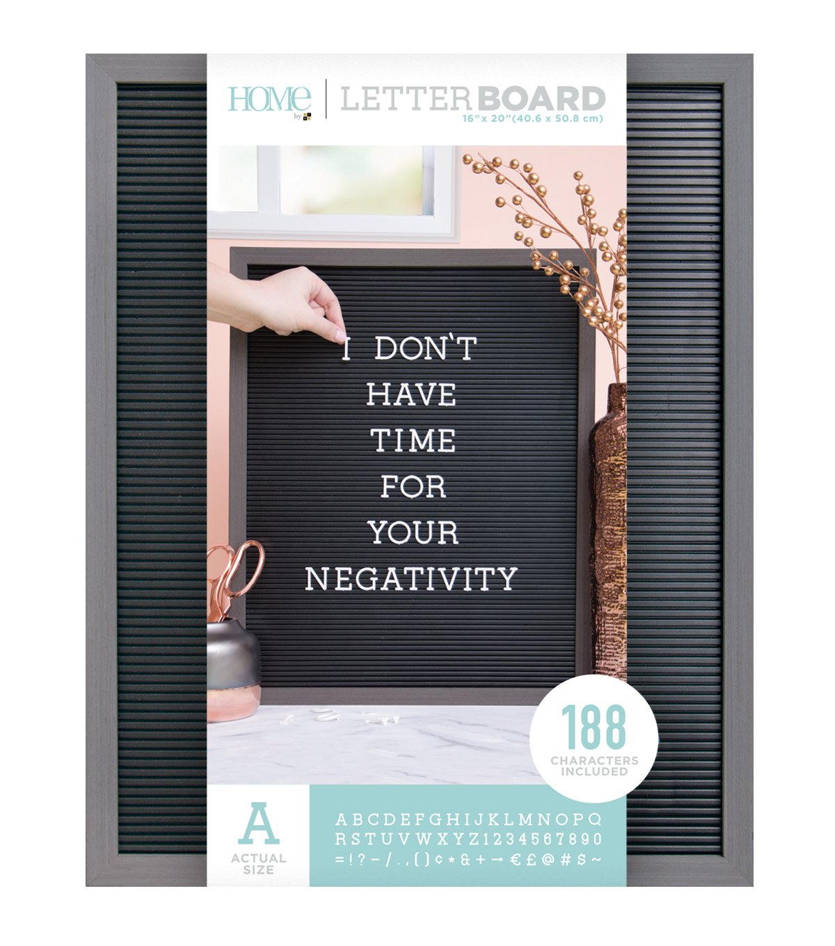 American Crafts 16 x 20 Inch Gray Frame with Black Die Cuts with a View Letterboards, 16 x 20,