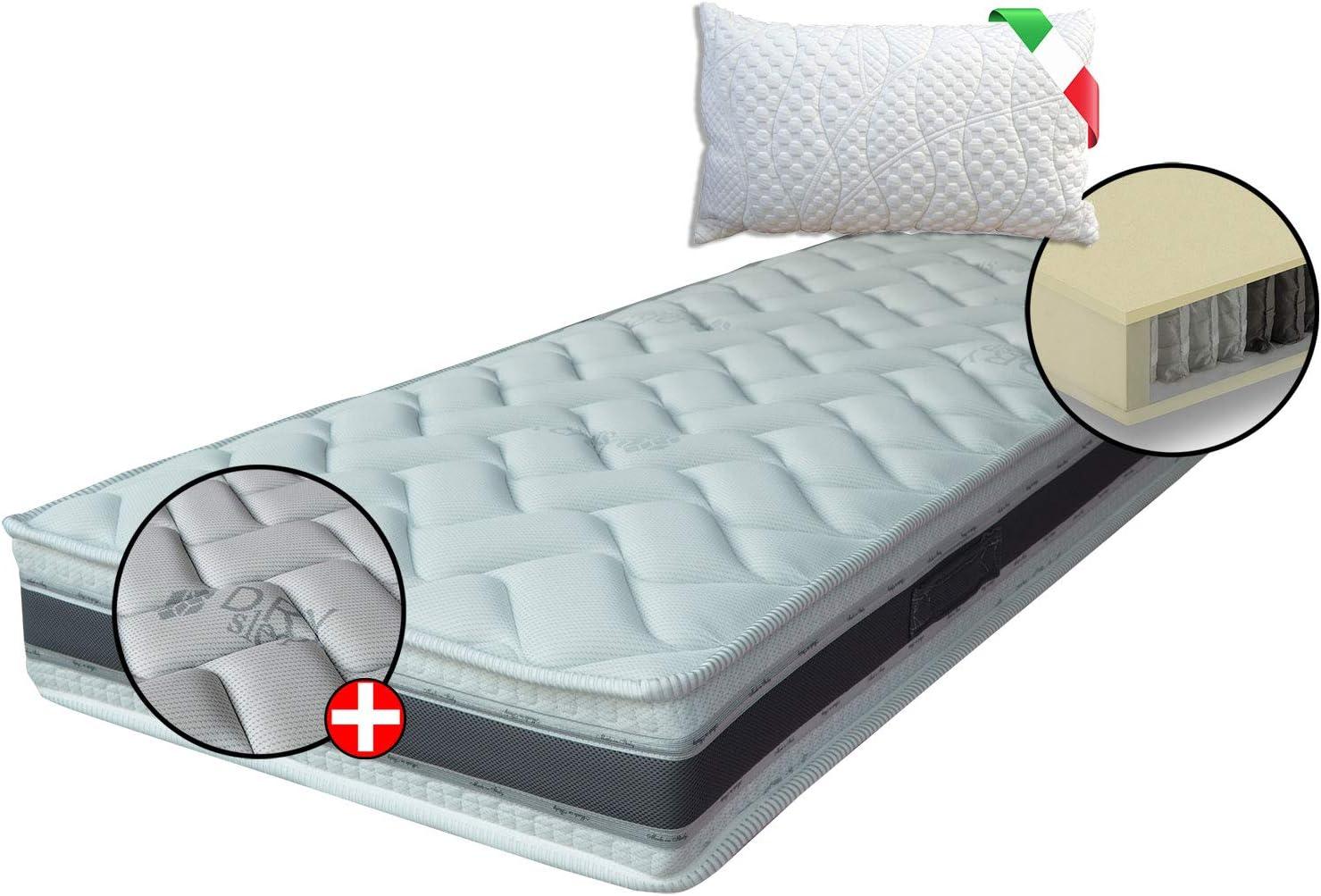 Colchón ortopédico 400 muelles ensacados independientes, colchón dispositivo médico, comodidad 7 zonas + 1 almohada, banda 3D y fibras naturales, individual 90 x 195 cm