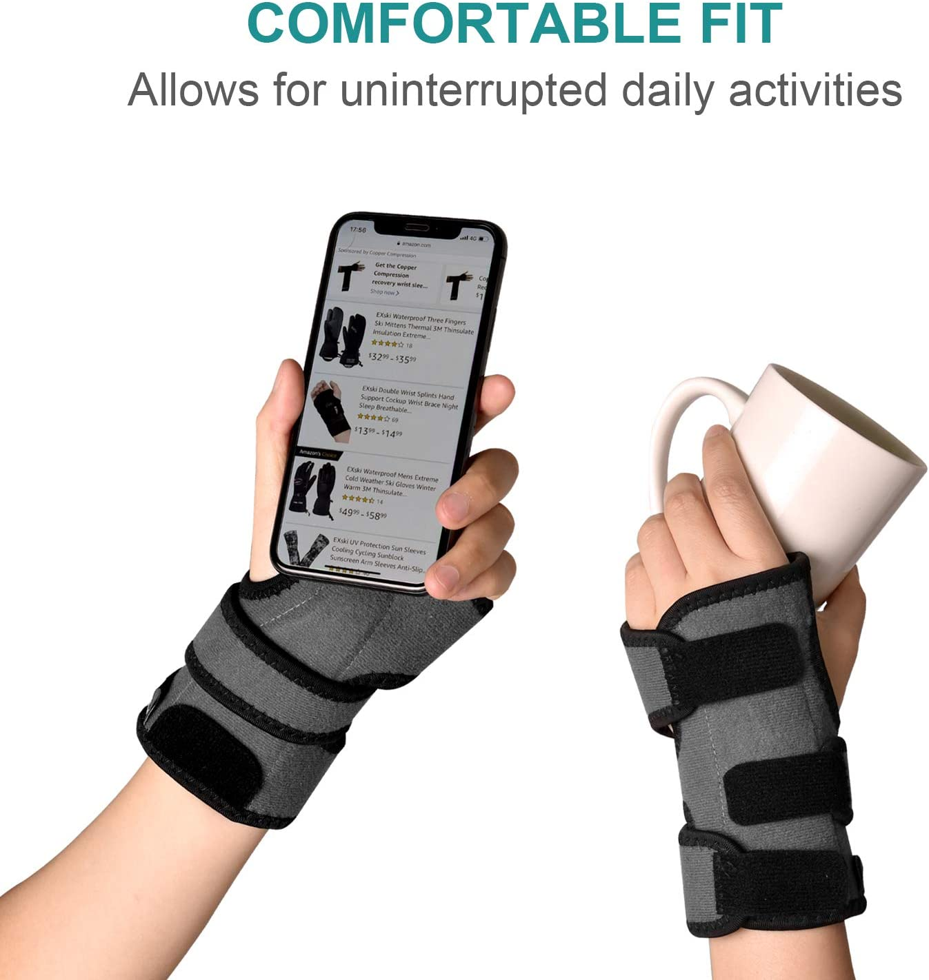 EXski Carpal Tunnel Wrist Splint Wrist Support Brace for Arthritis Tendinitis with Palm Cushion Pad Right Left Hand