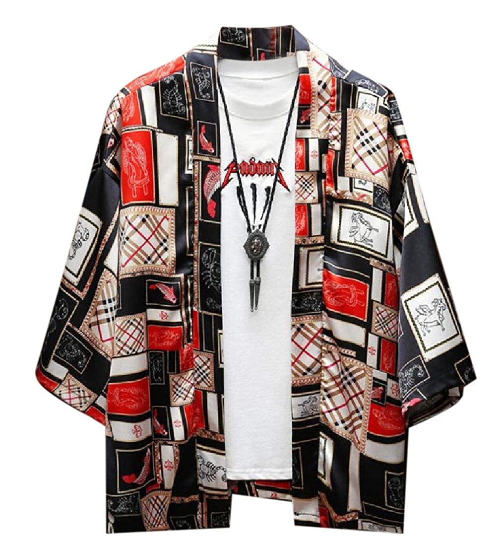 UUYUK Men Open Front 3//4 Sleeve Loose Fit Kimono Cardigan Coat