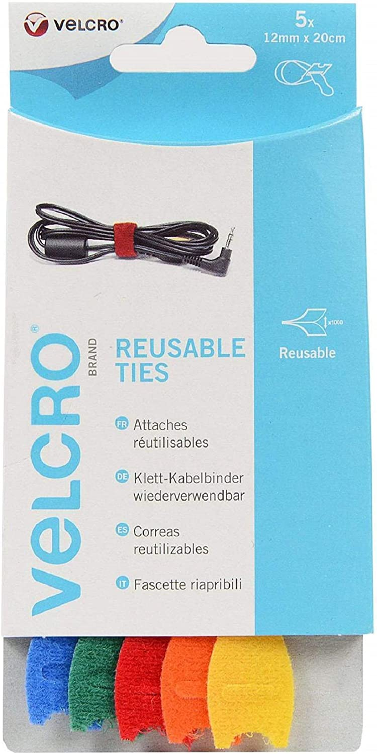 VELCRO® ONE WRAP® 1 OF EACH COLOUR 30mm x 200mm x 10 colours use as cable ties