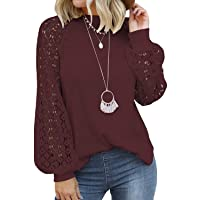 Women's Long Sleeve Tops Lace Casual Loose Blouses T Shirts