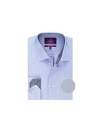 4b6efb69 HAWES & CURTIS Mens Curtis Light Blue Fine Stripe Slim Fit Shirt - Casual  Single Cuff