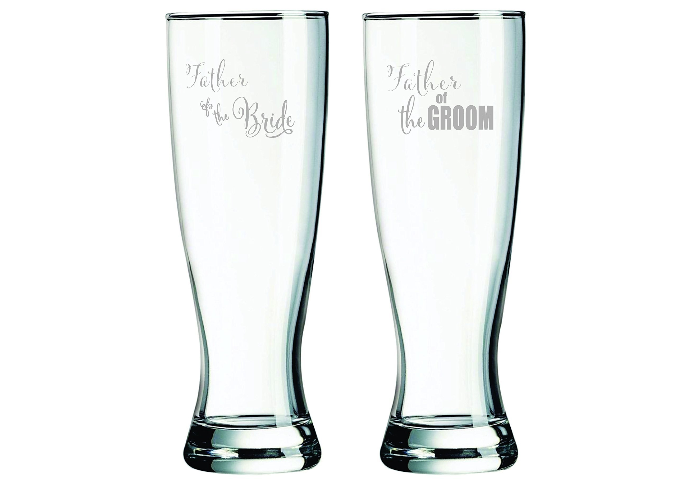 23 oz. Father of the Groom and Father of the Bride Pilsner glass set