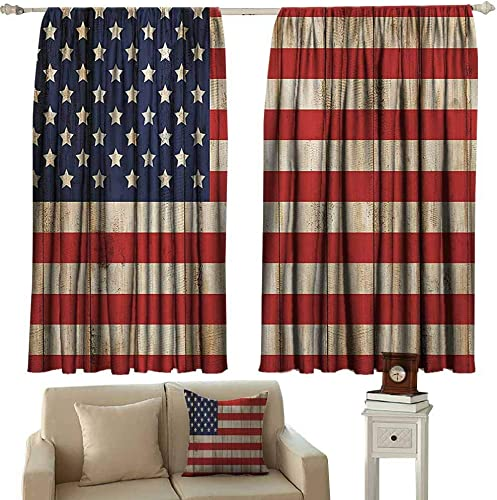 Sunnyhome Decor Curtains,American Flag USA Independence Day Concept and Damaged Wooden Fence with USA Flag Pattern,Simple Stylish,W55x72L Inches,Red Blue