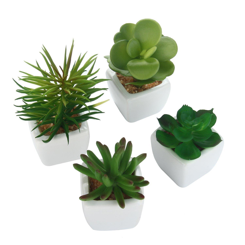 Asien Moderne Blanc en c/éramique Mini Plantes en Pot Artificielle Succulent Ensemble de 4