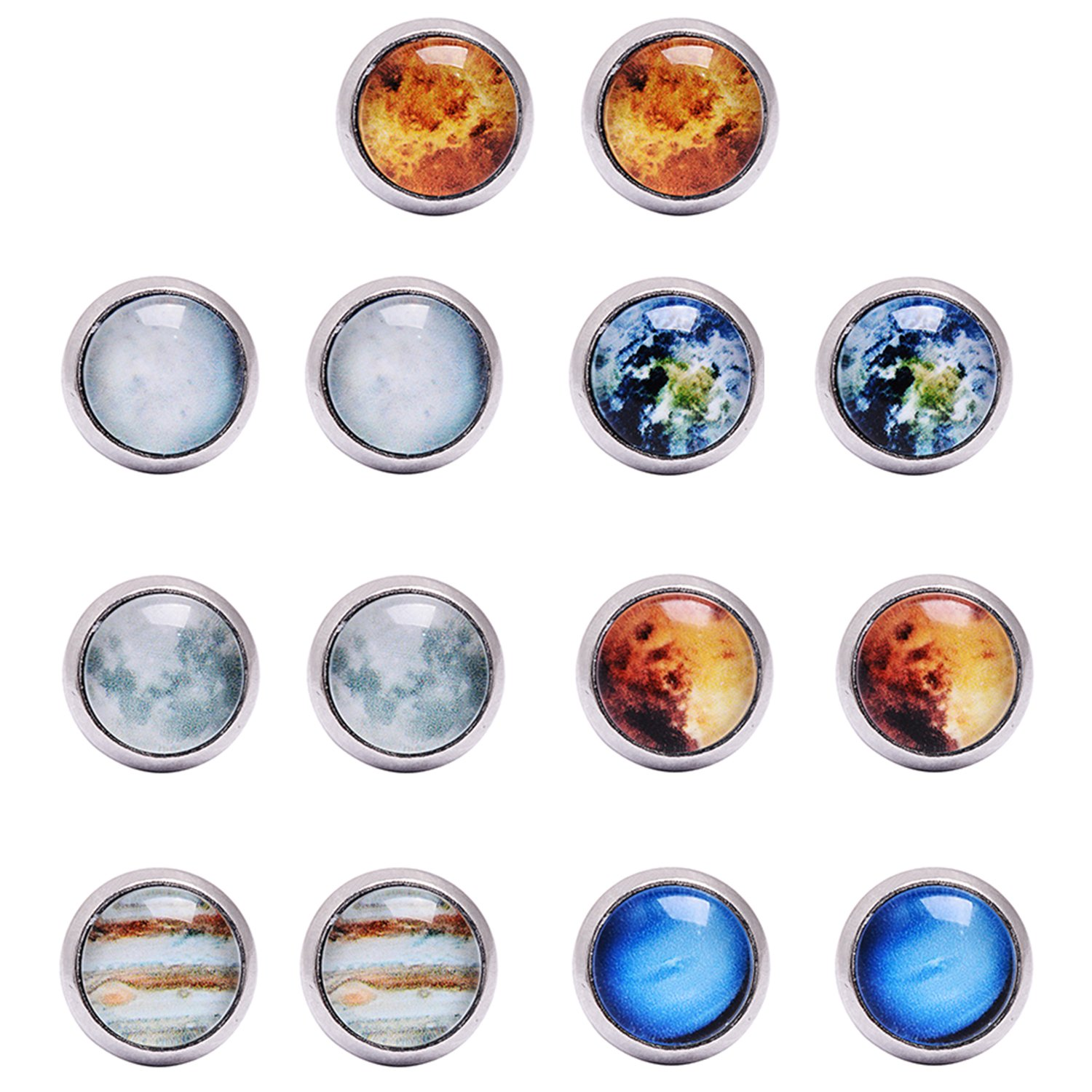 QILMILY 7 Pairs Solar System Galaxy Universe Unisex Planet Mens Womens Stainless Steel Stud Earrings Gifts for Kids Girls