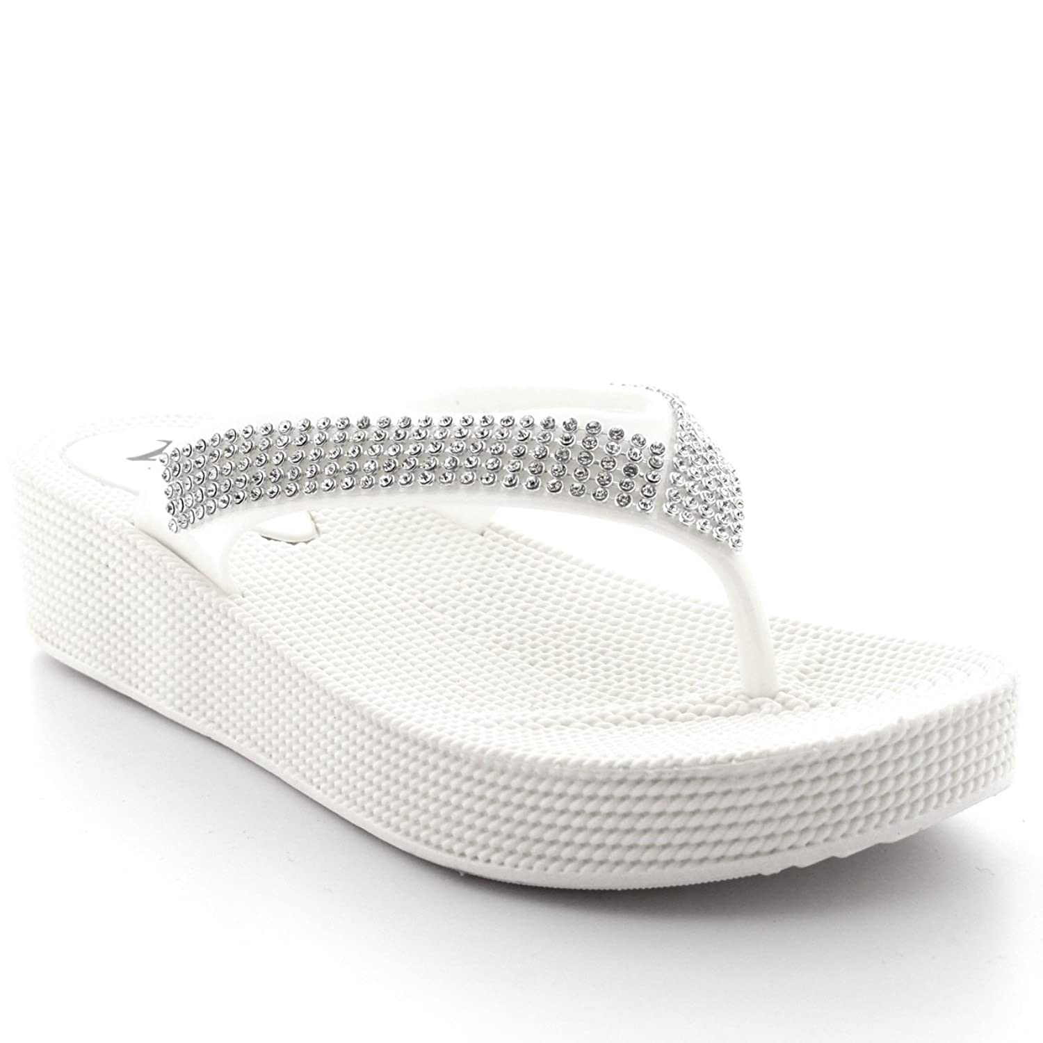 fde537716357 Viva Womens Beach Holiday Thong Sandals Jelly Wedge Heel Diamante Flip  Flops  Amazon.co.uk  Shoes   Bags