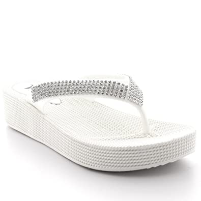 1a900e6c0151 Womens Beach Holiday Thong Sandals Jelly Wedge Heel Diamante Flip Flops -  White - UK3