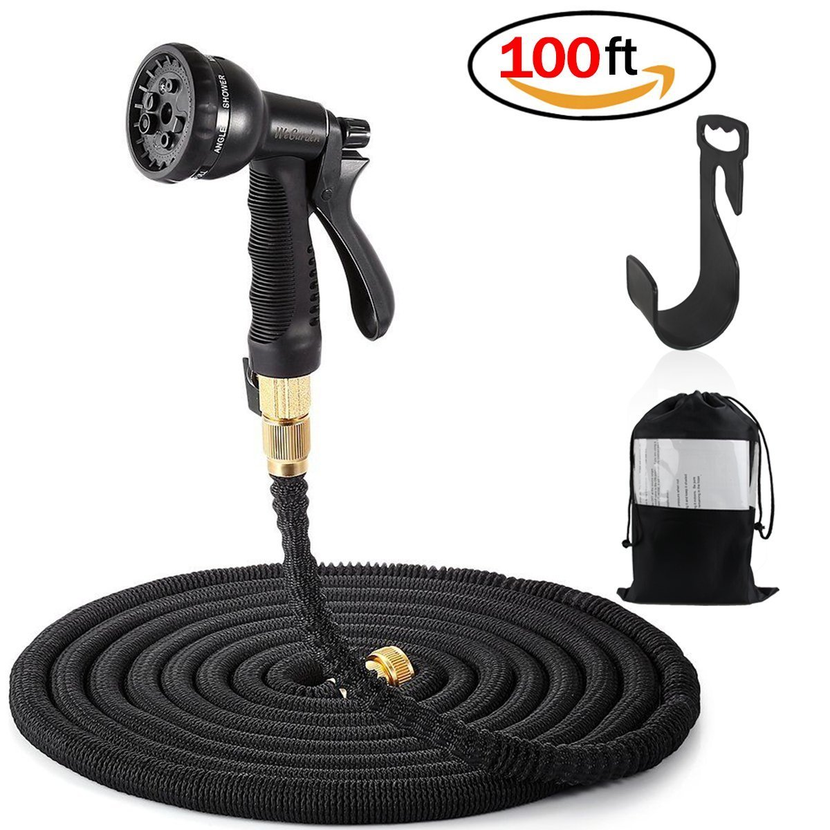 Expandable Garden Hose, JER 100Ft Magic Garden Hose Stretchable Hosepipe with 8-pattern Spray Nozzle & Copepr Brass Connectors & Convenient Wall Holder, Used for Car Washing Garden Watering