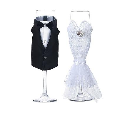 Buy Skywalk Glass Brid Groom Dress Wine Glass Gift Set Black And