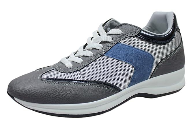Zapatillas deportivas hombre gris azul Casual Deporte Man s Shoes Grigio, blu, bianco