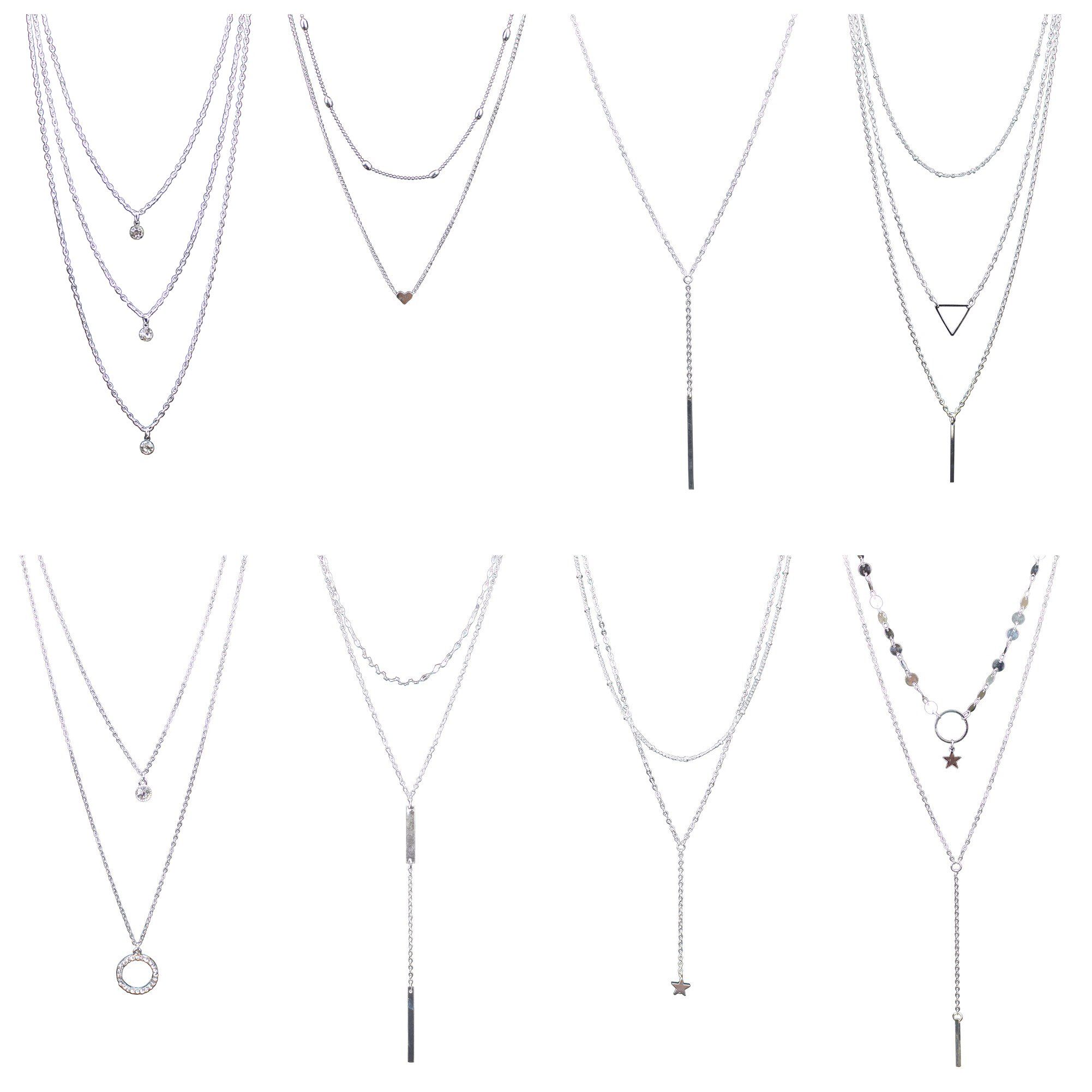 Coolcoco Fashion Metal Silver Choker Necklace Set with Pendant for Women (8 Pieces/Set)