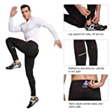 BALEAF Men's Outdoor Thermal Cycling Running Tights Black/Red Size L