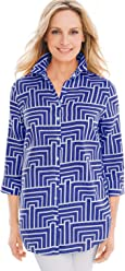 Chico's Women's No-Iron Linen Loop-Back 3/4 Sleeve Tunic