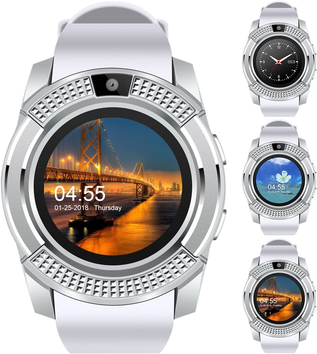 V8 Sports Smartwatch Bluetooth with Camera Message Push Touch Screen Pedometer Sedentary Reminder Sleep Monitor Instant Notification Anti-Lost Smartwatch for Android Phone (White+Silver)