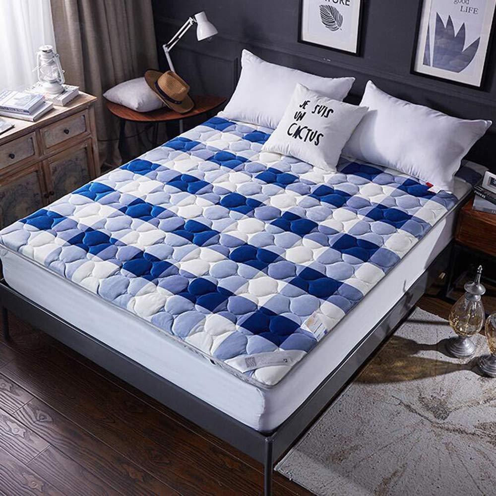 Love Home Tatami Matratzenauflage, japanische Vierjahreszeiten, atmungsaktiv, hohe Rückprallung, Studenten-Schlafmatratze, Schlafmatte, Polyester, blau, 180x200cm(71x79inch)