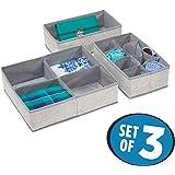 mDesign Fabric Dresser Drawer and Closet Storage Organizer for Underwear, Socks, Bras, Tights, Leggings - Set of 3, Gray