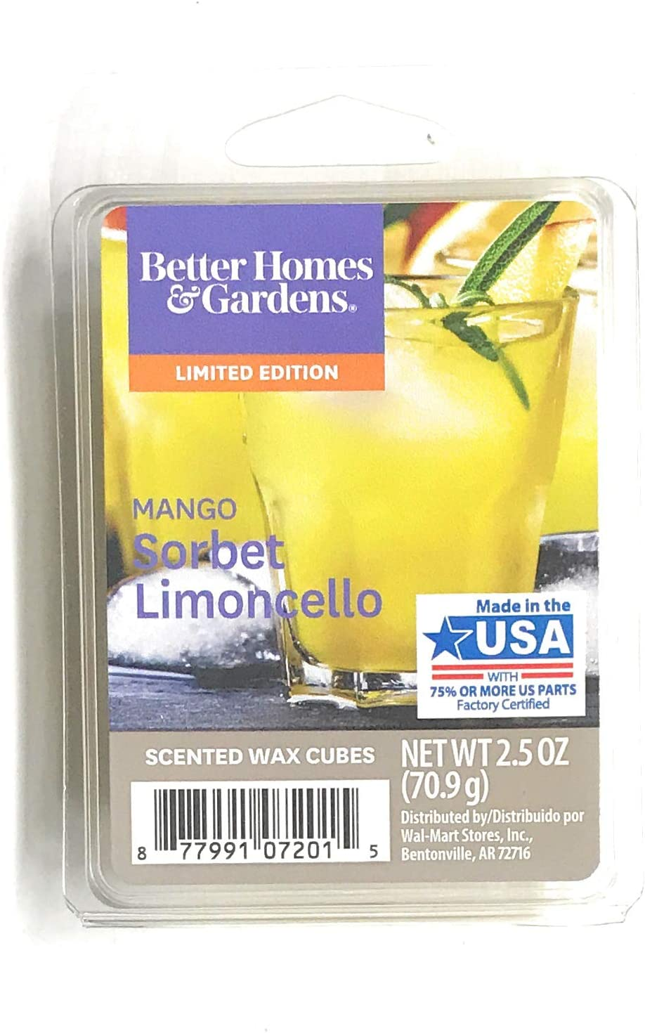 Better Homes and Gardens Mango Sorbet Limoncello 2018 Limited Edition Wax Cubes
