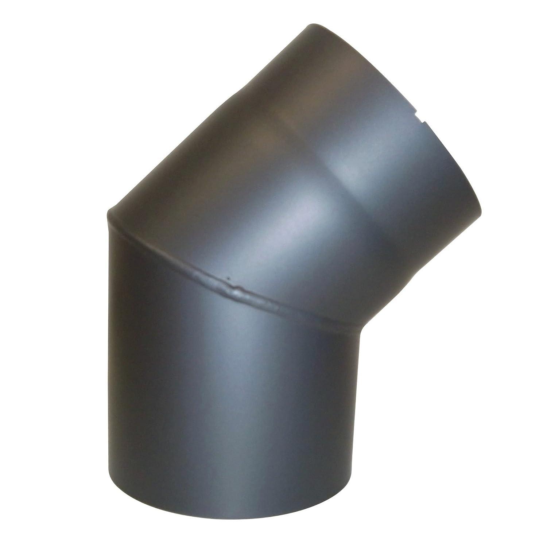 Durchmesser: ca gepr/üft nach Norm EN 1856-2 150 mm Abgasrohr aus Stahl mit hitzebest/ändiger Senotherm Beschichtung Winkel von 45/° Kamino Flam Bogenknie gussgrau