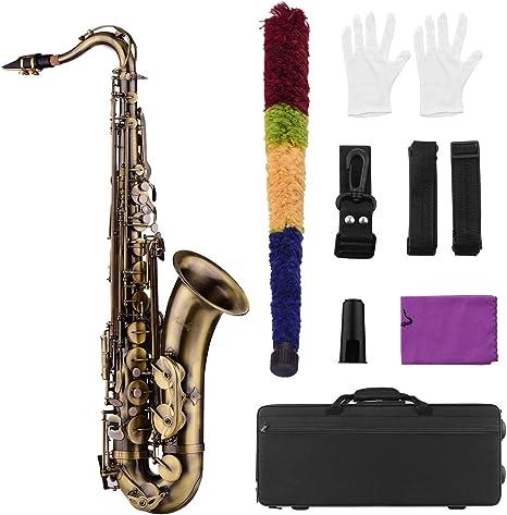 Muslady Bb Saxofón Tenor Acabado Antiguo Cuerpo de Latón Llaves de Concha Blanca Instrumento de Viento de Madera con Estuche Portátil Guantes de Limpieza Cepillo de Tela Correas de Cuello de Saxofón: