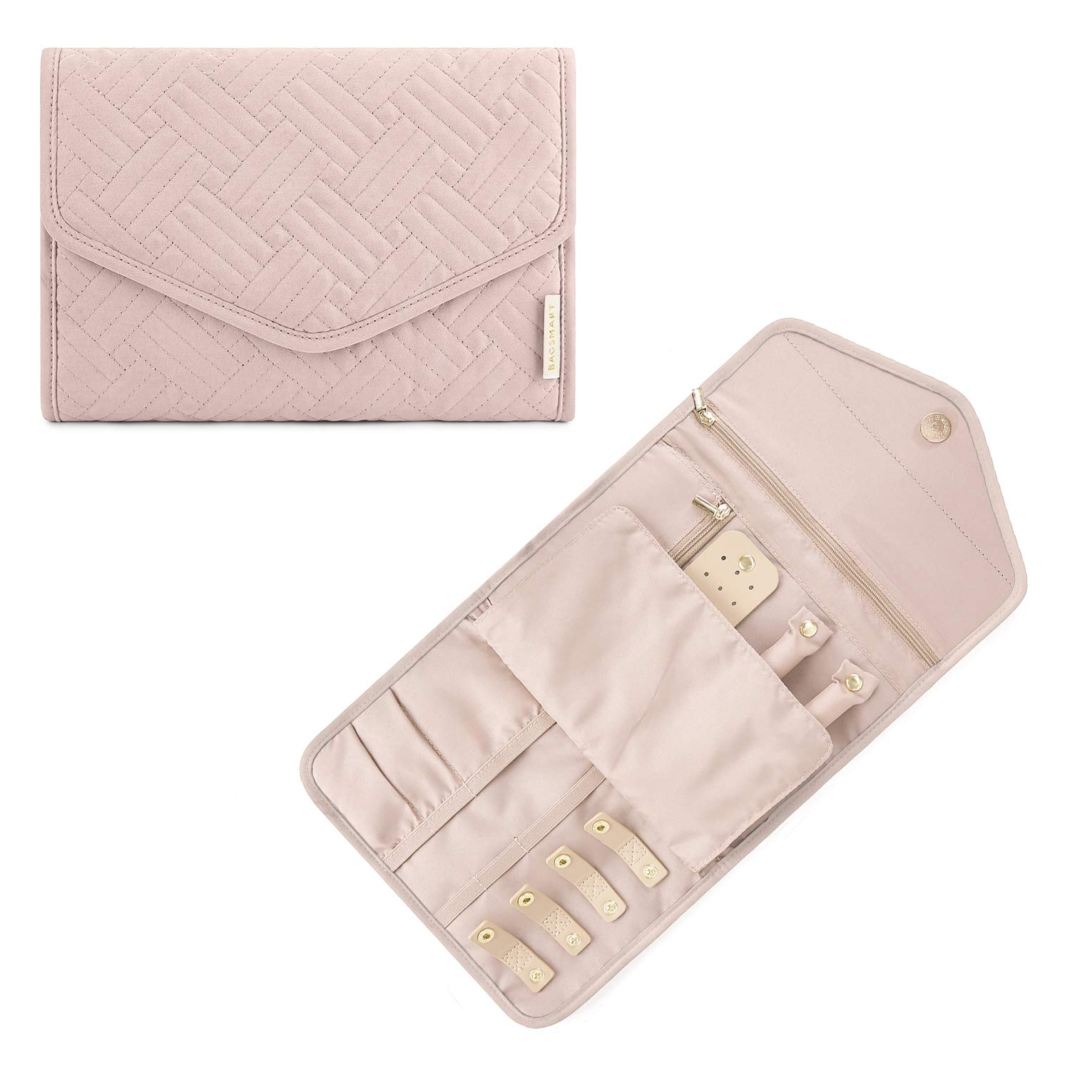 BAGSMART Travel Jewellery Organiser Roll Foldable Jewelry Case for Journey-Rings, Necklaces, Bracelets, Earrings, Soft Pink