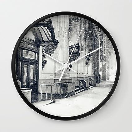Amazon.com: Society6 New York City Snow Globe Wall Clock Black Frame ...