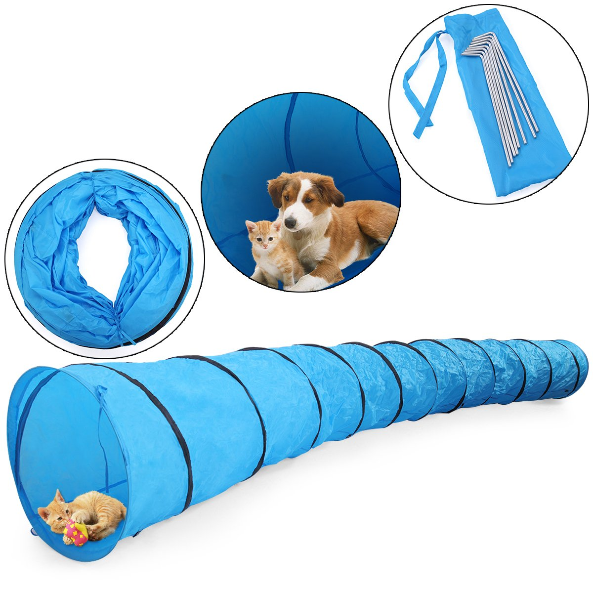 JAXPETY 16.4' Pet Dog Agility Obedience Training Tunnel Pet Channel Dog Outdoor Games Agility by JAXPETY