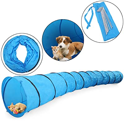 JAXPETY 16.4' Pet Dog Agility Obedience Training Tunnel Pet Channel Dog Outdoor Games Agility