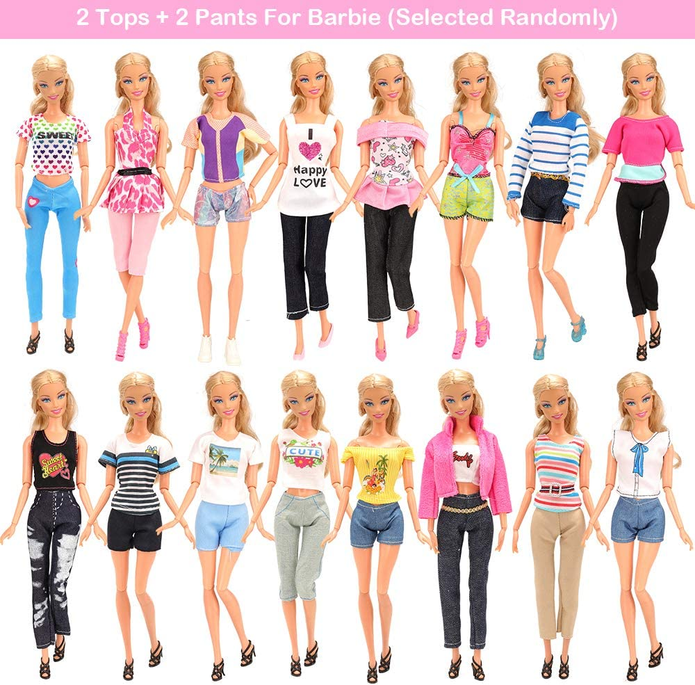 BARWA 25 pcs Barbi Doll Clothes and Accessories 11 pcs Party Dresses 2 Gowns 2 Outfits 10 pcs Shoes Accessories for 11.5 inch Doll