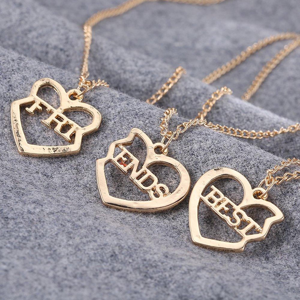 c12c8d53881c Elegant Rose 3 Piezas Best Friends Forever BFF Plata corazón Clave Colgante  Collar Conjunto Amistad Accesorios Ampliar imagen