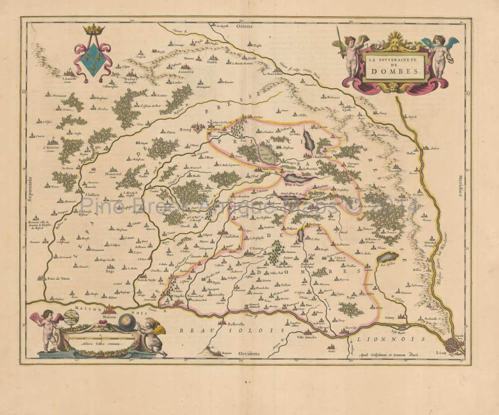 Macon France Map.Amazon Com Lyon Macon Bourg En Bresse France Antique Map Blaeu 1650