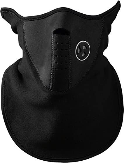 Cold Protection Outdoors Black Neoprene Short Face Mask Ski Wind Walking
