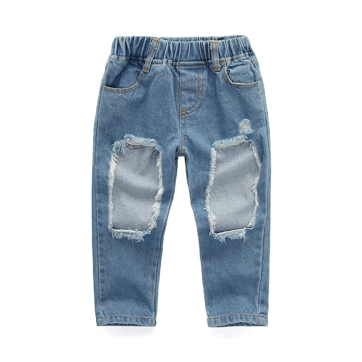 Toddler Kids Little Girls Clothes Pink Off Shoulder Top Denim Ripped Pants Bowknot Headband 3Pcs Outfit Set