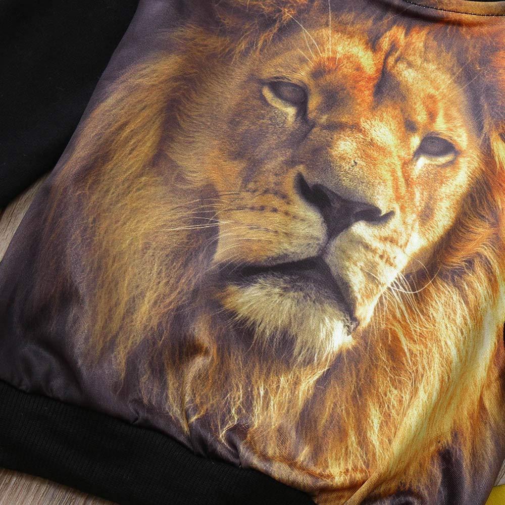 TheRang Toddler Kids Baby Boy Animal Lion Pullover Sweatshirt Tops Pants Set Clothes