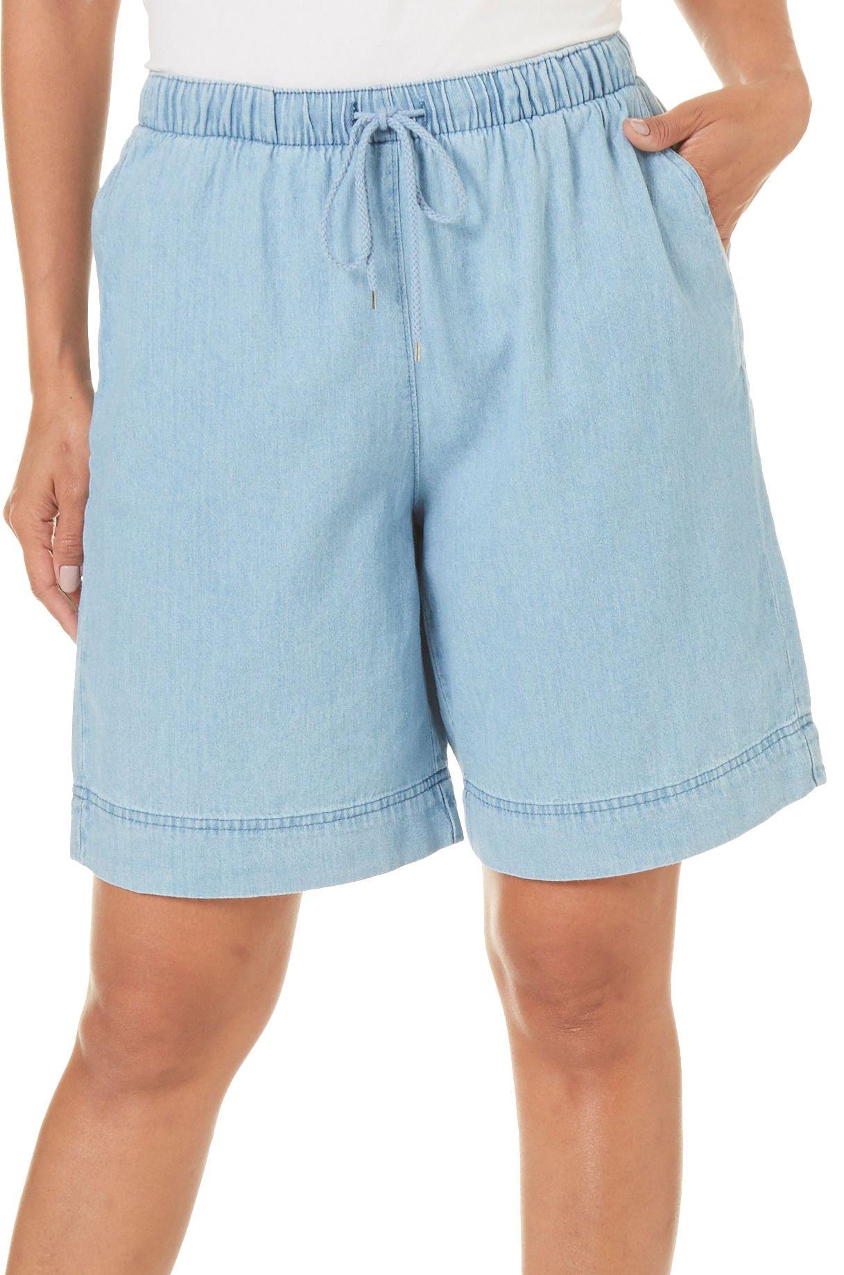 Coral Bay Womens Pull On Denim Bermuda Shorts Small Lighter Denim